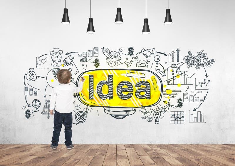 Χαριτωμένος δείκτης σχεδίων γραψίματος μικρών παιδιών καλή ιδέα στοκ εικόνα