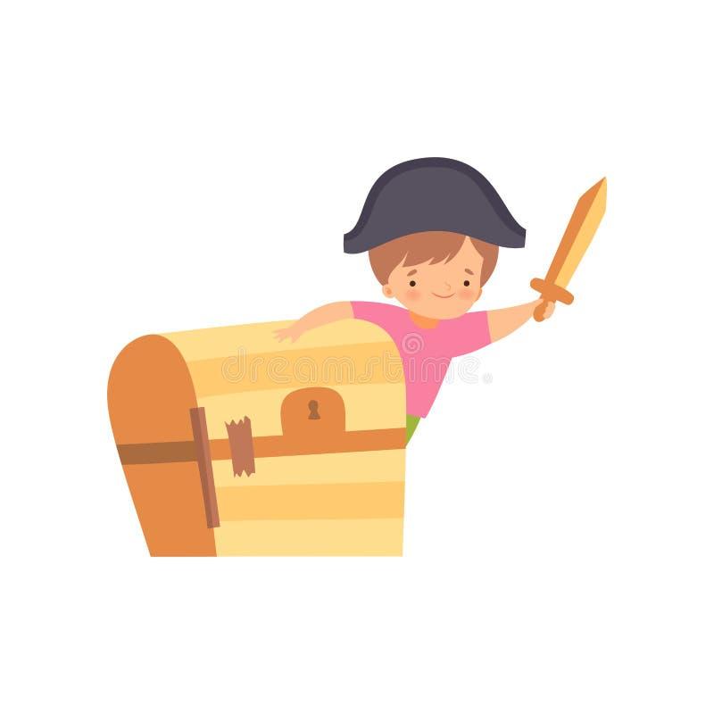 Χαριτωμένος δημιουργικός χαρακτήρας παιδιών στο κοστούμι με το καπέλο, το ξίφος και το στήθος φιαγμένα από κινούμενα σχέδια διανυ ελεύθερη απεικόνιση δικαιώματος