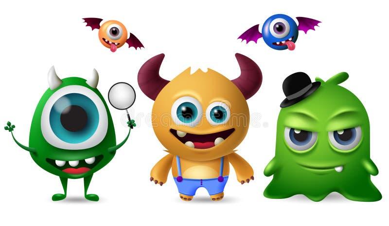 Χαριτωμένος διανυσματικός χαρακτήρας τεράτων - σύνολο Μικρά χαριτωμένα τέρατα με τα τρομακτικά και τρελλά πρόσωπα για τα στοιχεία απεικόνιση αποθεμάτων