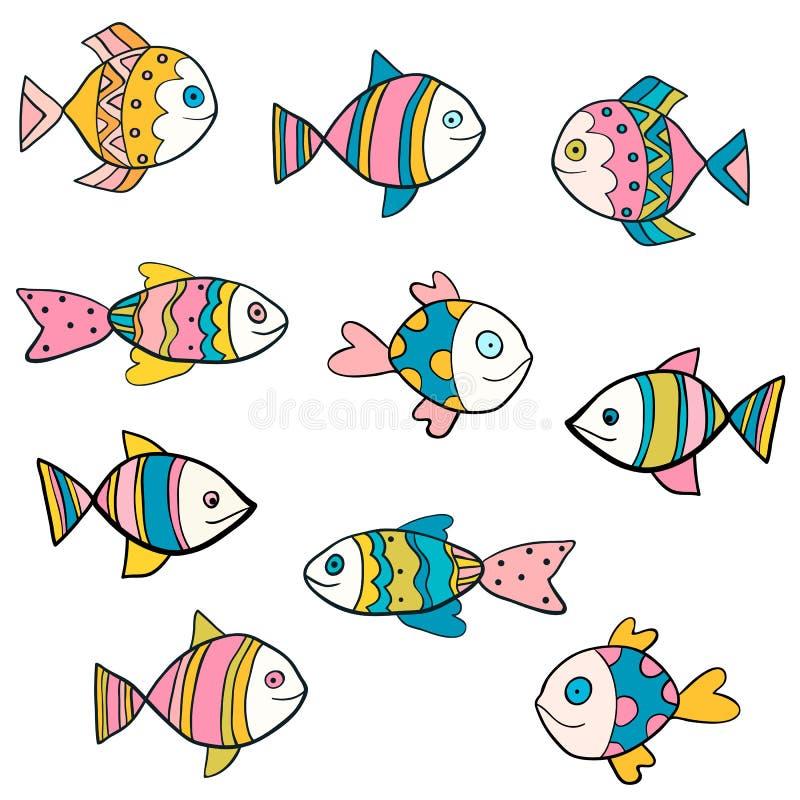 Χαριτωμένος, διασκέδαση και ζωηρόχρωμα διανυσματικά σχέδια ψαριών ελεύθερη απεικόνιση δικαιώματος