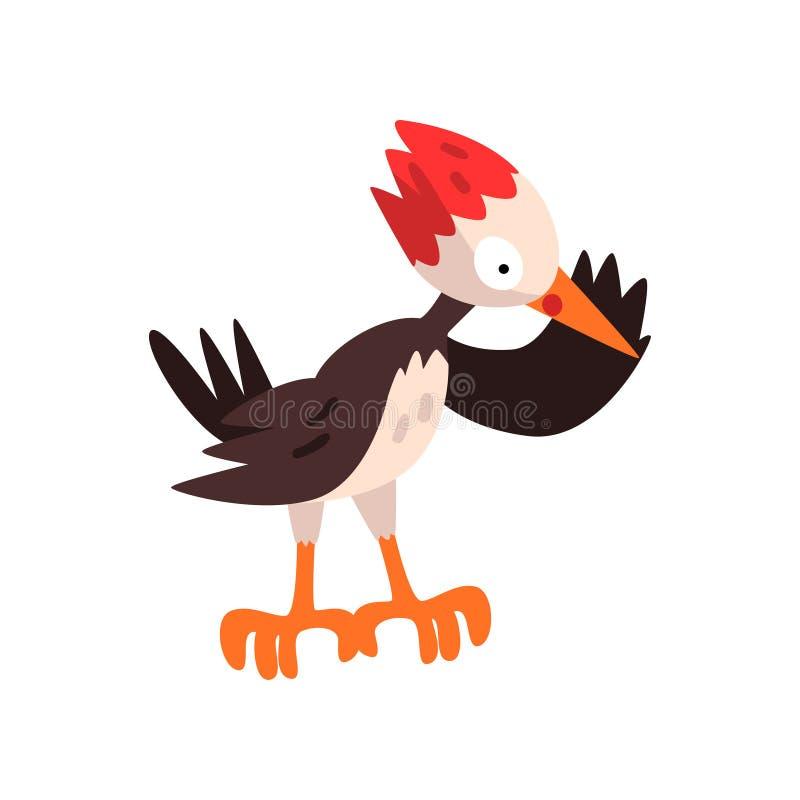 Χαριτωμένος δρυοκολάπτης, αστεία διανυσματική απεικόνιση χαρακτήρα κινουμένων σχεδίων πουλιών σε ένα άσπρο υπόβαθρο απεικόνιση αποθεμάτων