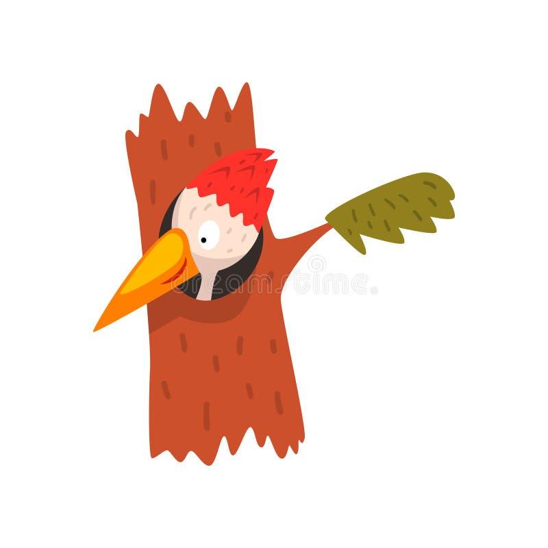 Χαριτωμένος δρυοκολάπτης που κοιτάζει από την κοίλη, αστεία διανυσματική απεικόνιση χαρακτήρα κινουμένων σχεδίων πουλιών σε ένα ά απεικόνιση αποθεμάτων