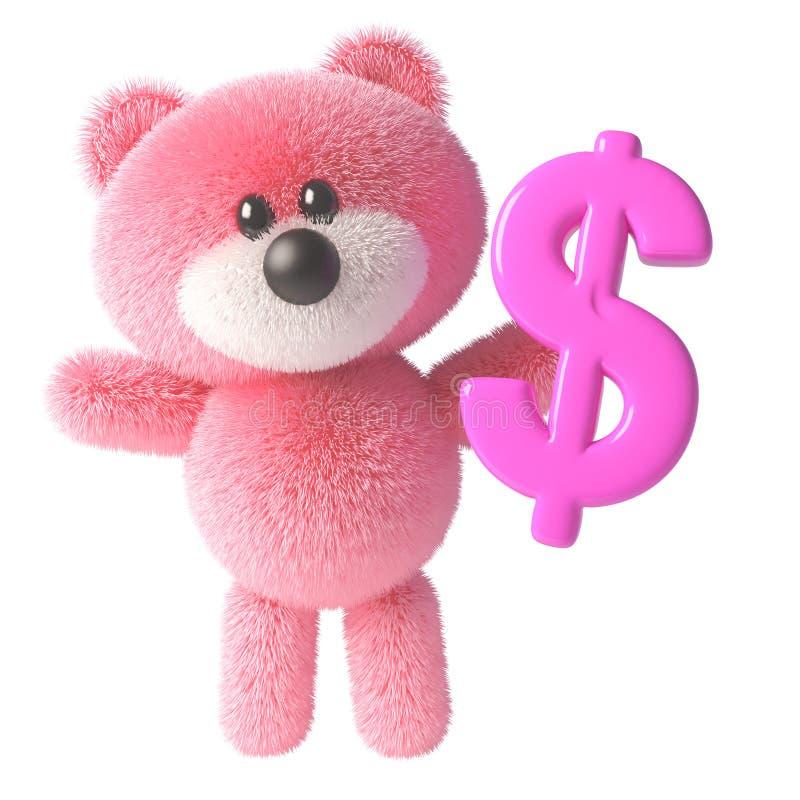 Χαριτωμένος 3δ ροζ αρκουδάκι μαλακός χαρακτήρας παιχνιδιών κρατώντας ένα ροζ σύμβολο δολαρίου ΗΒ, 3δ απεικόνιση διανυσματική απεικόνιση