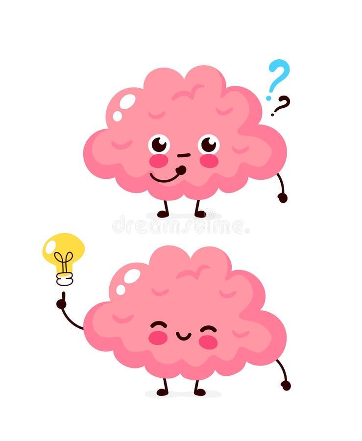 Χαριτωμένος εγκέφαλος με το ερωτηματικό και lightbulb ελεύθερη απεικόνιση δικαιώματος