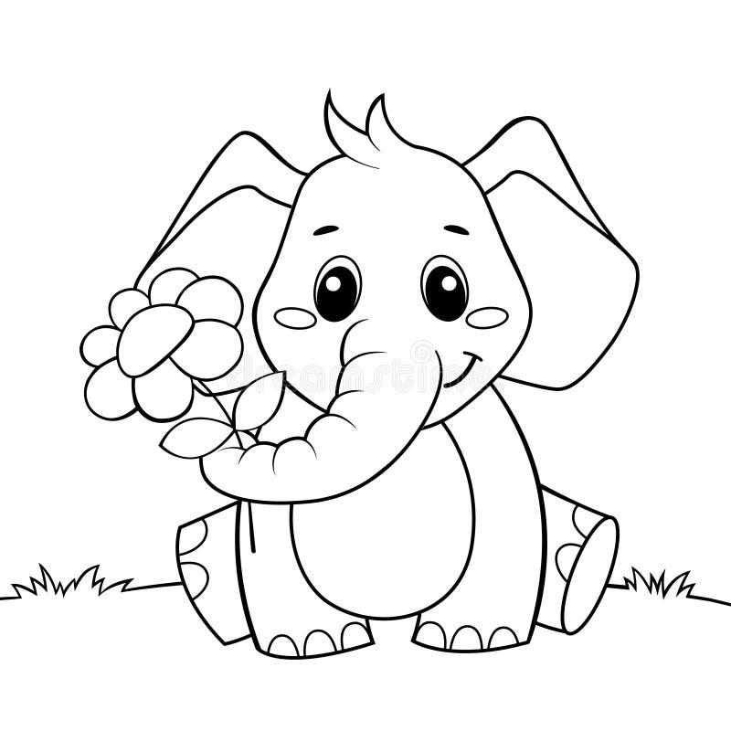 Χαριτωμένος ελέφαντας κινούμενων σχεδίων με το λουλούδι Γραπτή διανυσματική απεικόνιση για το χρωματισμό του βιβλίου απεικόνιση αποθεμάτων