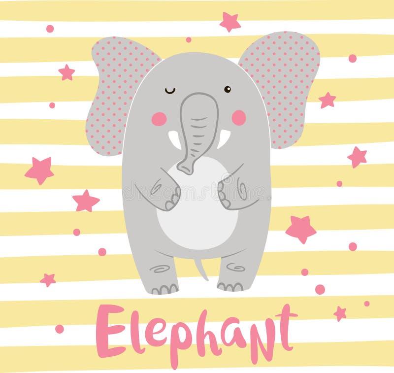 Χαριτωμένος ελέφαντας κινούμενων σχεδίων σε ένα ριγωτό υπόβαθρο απεικόνιση αποθεμάτων