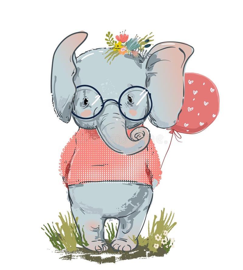 χαριτωμένος ελέφαντας με το μπαλόνι διανυσματική απεικόνιση