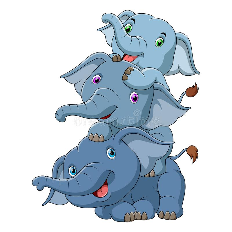 Χαριτωμένος ελέφαντας μωρών τρία ελεύθερη απεικόνιση δικαιώματος