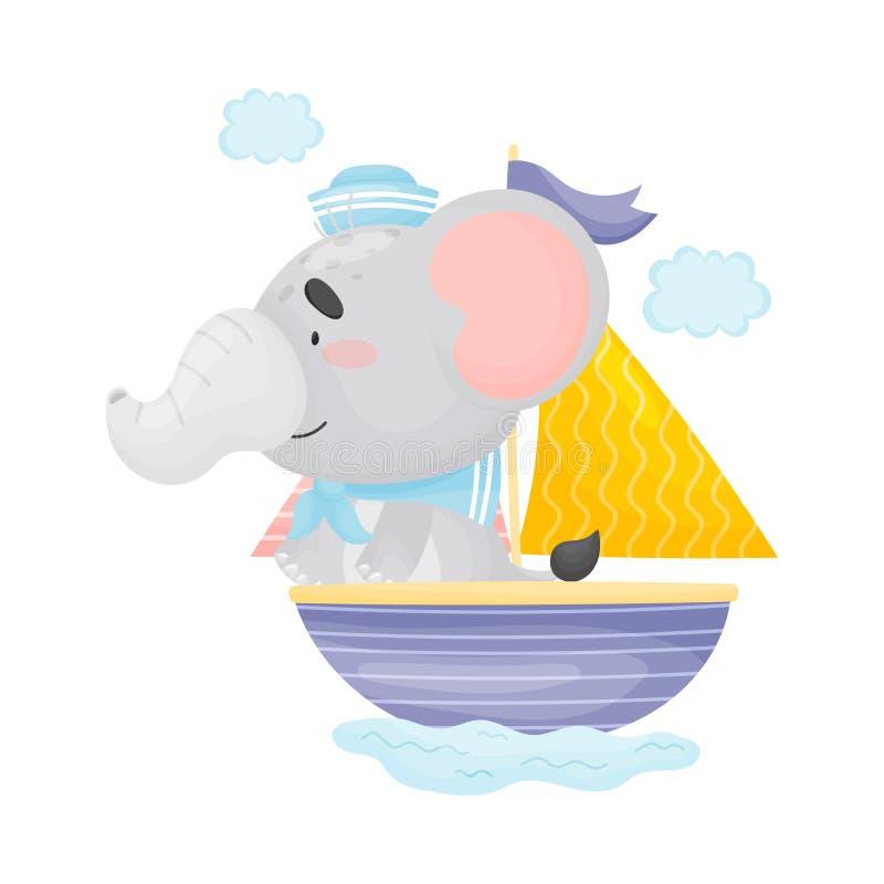 Χαριτωμένος ελέφαντας που πλέει σε μια βάρκα με ένα πανί E ελεύθερη απεικόνιση δικαιώματος