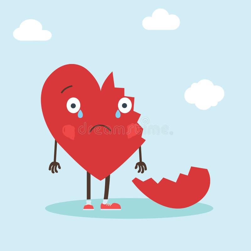 Χαριτωμένος ενιαίος χαρακτήρας καρδιών με τη σπασμένη καρδιά Διανυσματική κάρτα ημέρας βαλεντίνων s απεικόνισης - διάνυσμα απεικόνιση αποθεμάτων