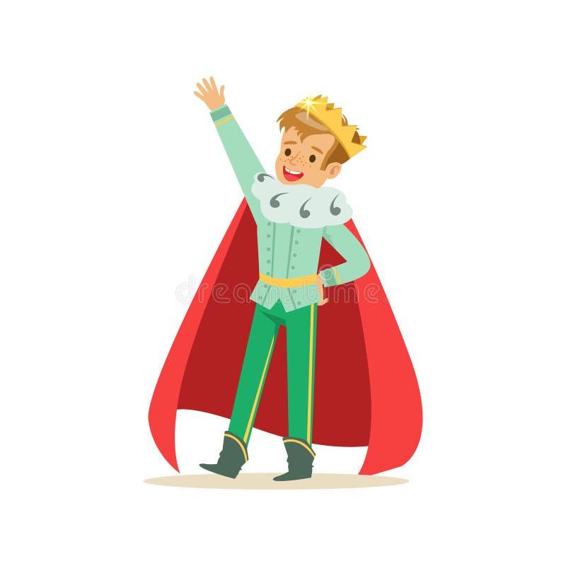 Χαριτωμένος ευτυχής πρίγκηπας αγοριών σε μια χρυσή κορώνα και έναν κόκκινο επενδύτη, κοστούμι παραμυθιού για το κόμμα ή διανυσματ ελεύθερη απεικόνιση δικαιώματος