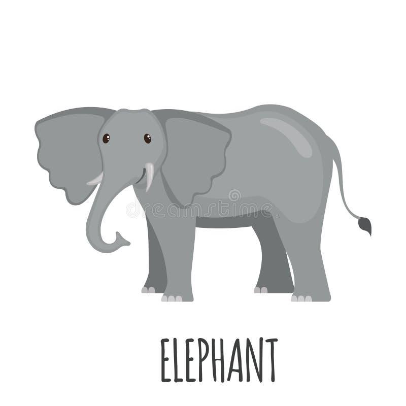 Χαριτωμένος ελέφαντας στο επίπεδο ύφος διανυσματική απεικόνιση