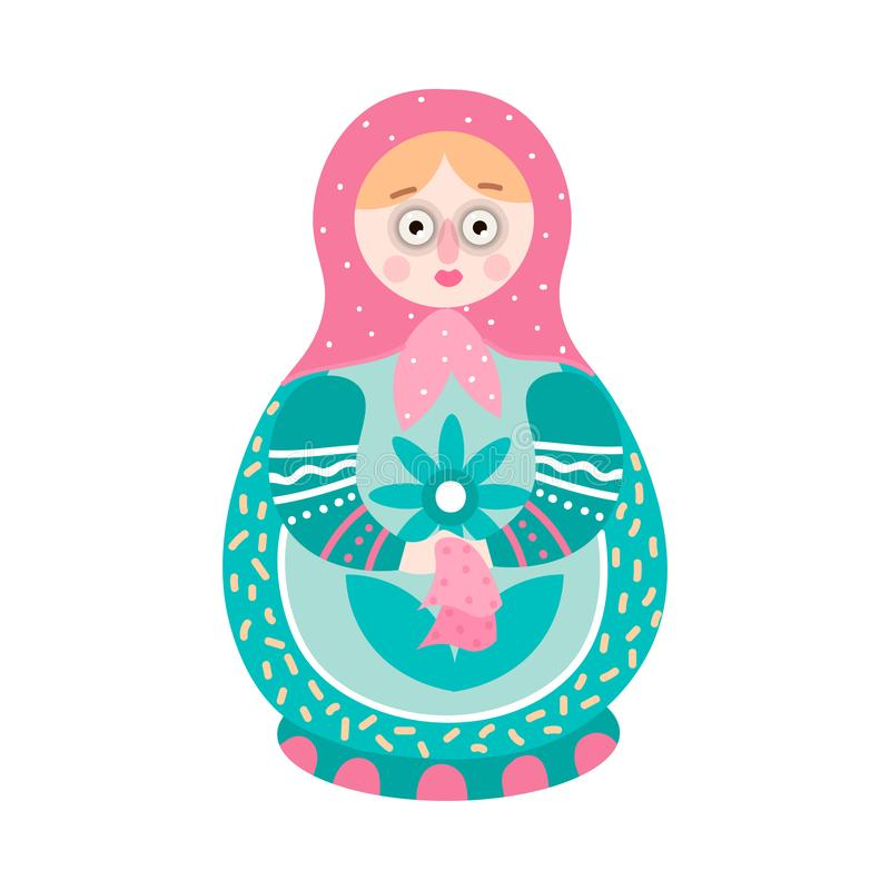 Χαριτωμένος ζωηρόχρωμος η ρωσική διακοσμητική να τοποθετηθεί κούκλα ελεύθερη απεικόνιση δικαιώματος