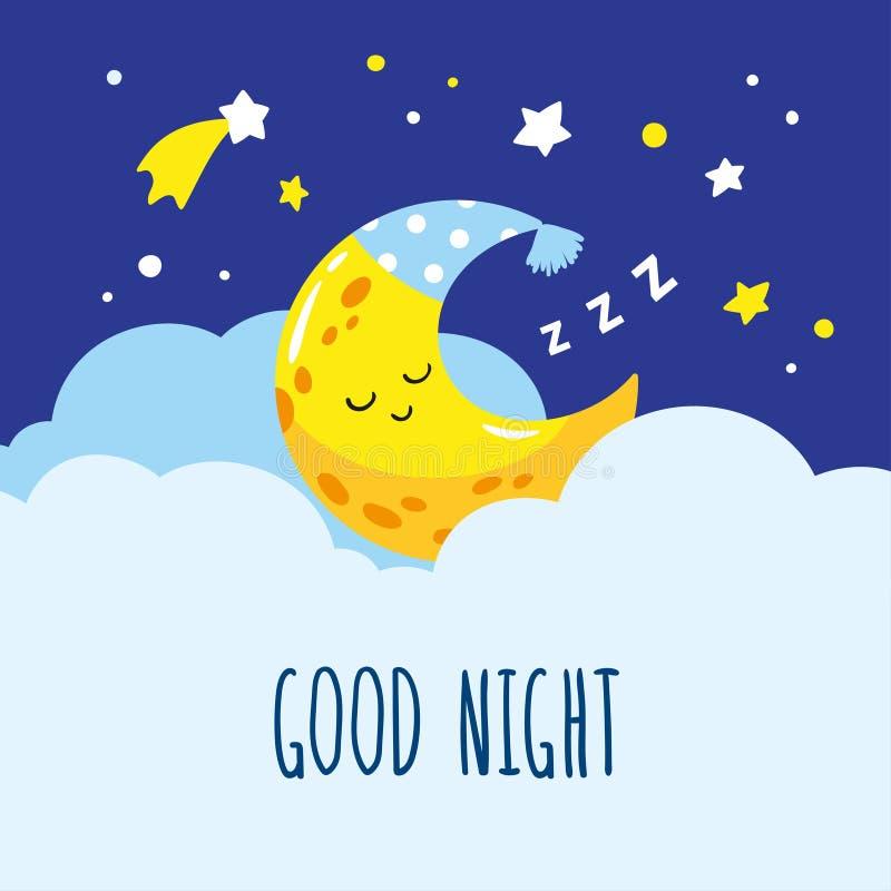 Χαριτωμένος ημισεληνοειδής ύπνος σε ένα σύννεφο Χειρόγραφη καληνύχτα επιγραφής ελεύθερη απεικόνιση δικαιώματος