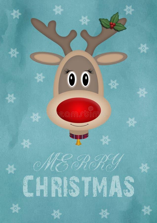 Χαριτωμένος θηλυκός τάρανδος στο εκλεκτής ποιότητας μπλε υπόβαθρο με τη Χαρούμενα Χριστούγεννα κειμένων, σχέδιο καρτών Χριστουγέν διανυσματική απεικόνιση