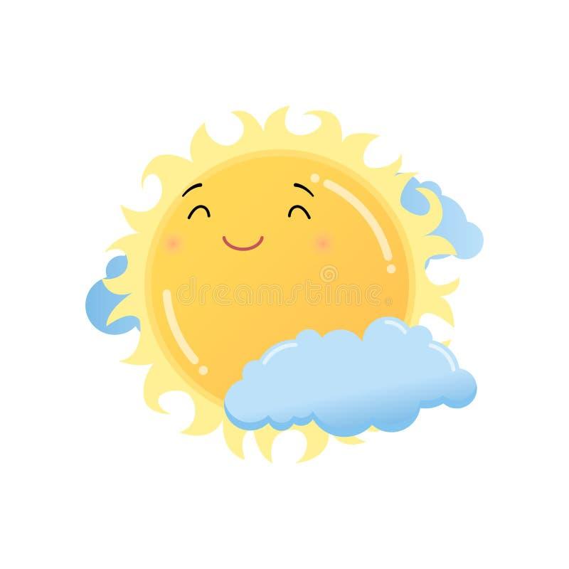 Χαριτωμένος ικανοποιημένος κίτρινος ήλιος στην αυτοκόλλητη ετικέττα emoji σύννεφων που απομονώνεται στο άσπρο υπόβαθρο ελεύθερη απεικόνιση δικαιώματος