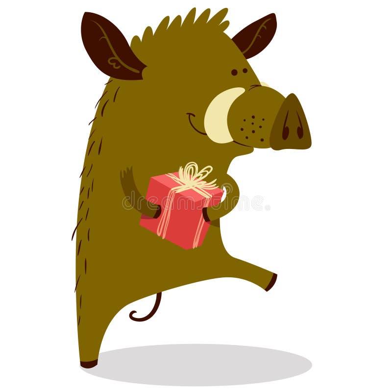 Χαριτωμένος κάπροι ή warthog χαρακτήρας με το πεδίο δώρων Διανυσματικό illustrati ελεύθερη απεικόνιση δικαιώματος