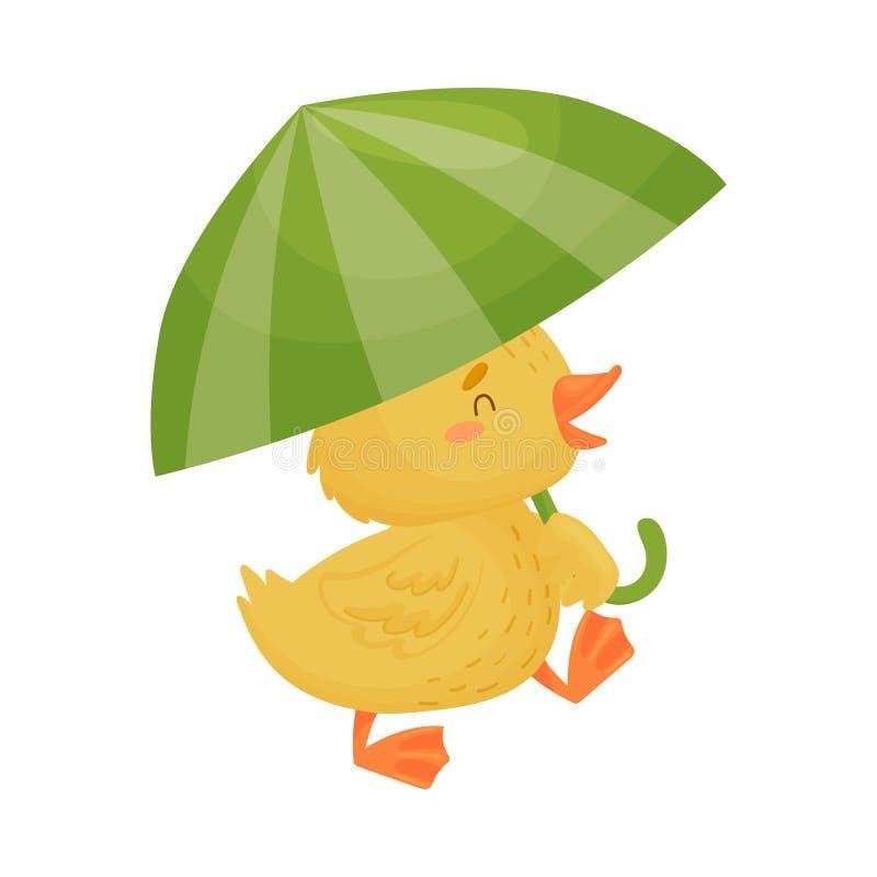 Χαριτωμένος κίτρινος νεοσσός κάτω από την ομπρέλα E διανυσματική απεικόνιση