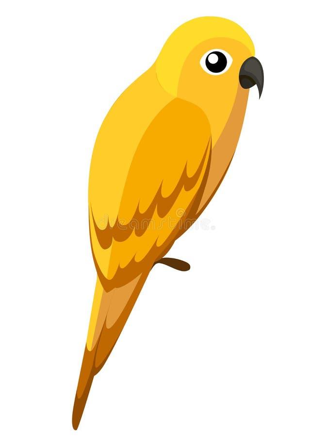 Χαριτωμένος κίτρινος παπαγάλος Άγριο ύφος κινούμενων σχεδίων πουλιών Επίπεδη διανυσματική απεικόνιση που απομονώνεται στο άσπρο υ διανυσματική απεικόνιση