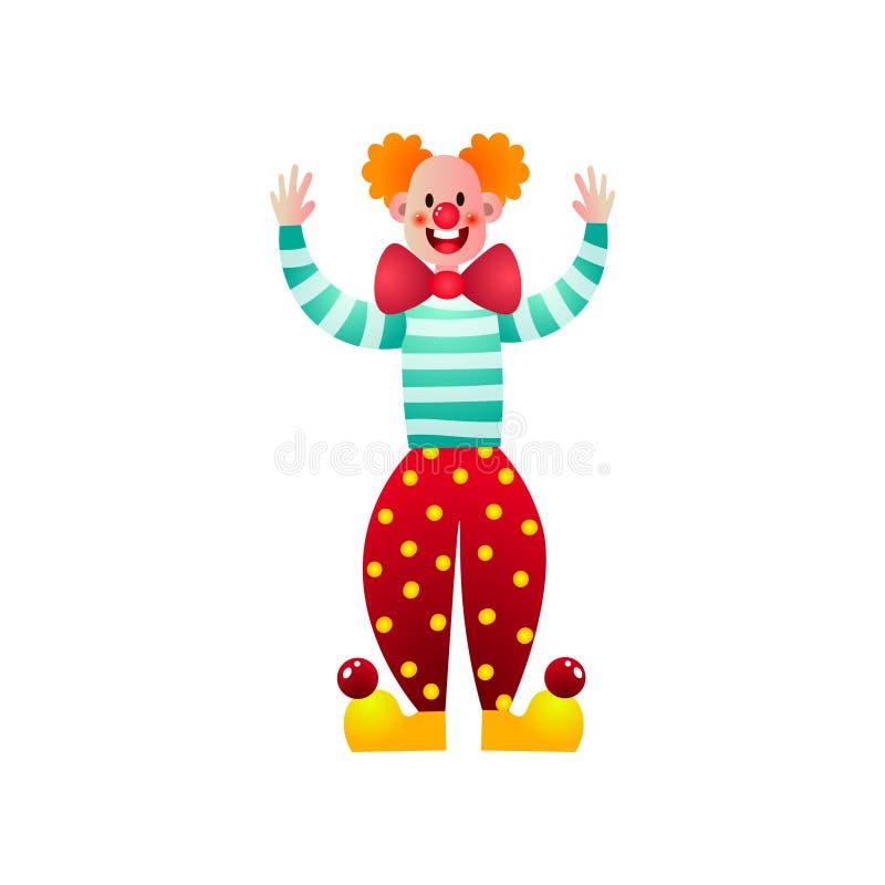 Χαριτωμένος και αστείος κλόουν τσίρκων με την κόκκινη μύτη και τα μεγάλα παπούτσια διανυσματική απεικόνιση