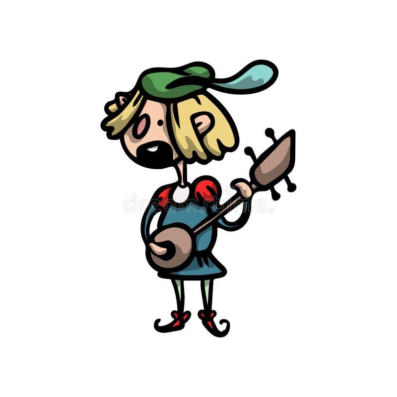 Χαριτωμένος και αστείος μεσαιωνικός μουσικός με την κιθάρα, πράσινο beret ελεύθερη απεικόνιση δικαιώματος
