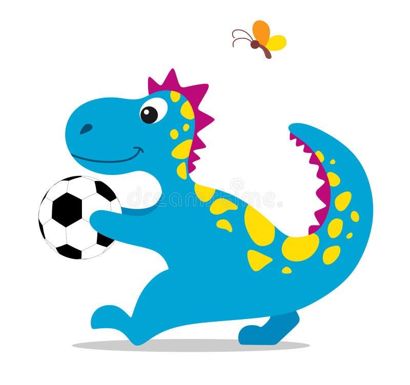 Χαριτωμένος και δεινόσαυρος κινούμενων σχεδίων με μια σφαίρα ποδοσφαίρου στα πόδια του διανυσματικό λευκό καρ&chi ελεύθερη απεικόνιση δικαιώματος