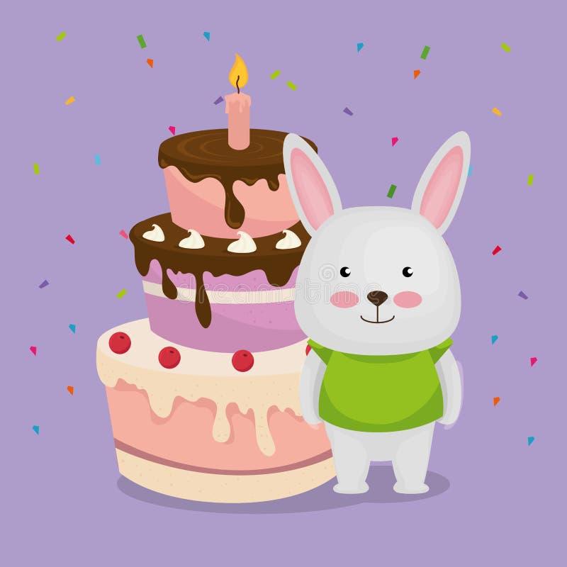 Χαριτωμένος και λίγο λαγουδάκι με το κέικ απεικόνιση αποθεμάτων