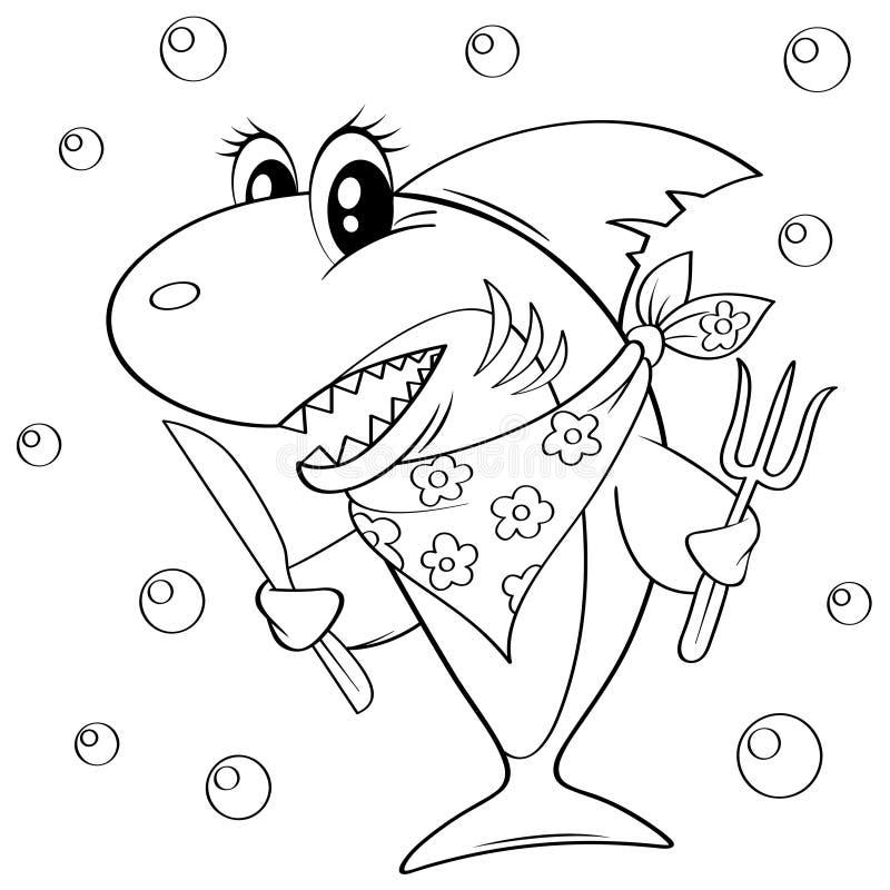 Χαριτωμένος καρχαρίας κινούμενων σχεδίων με το δίκρανο και το μαχαίρι Γραπτή διανυσματική απεικόνιση για το χρωματισμό του βιβλίο απεικόνιση αποθεμάτων