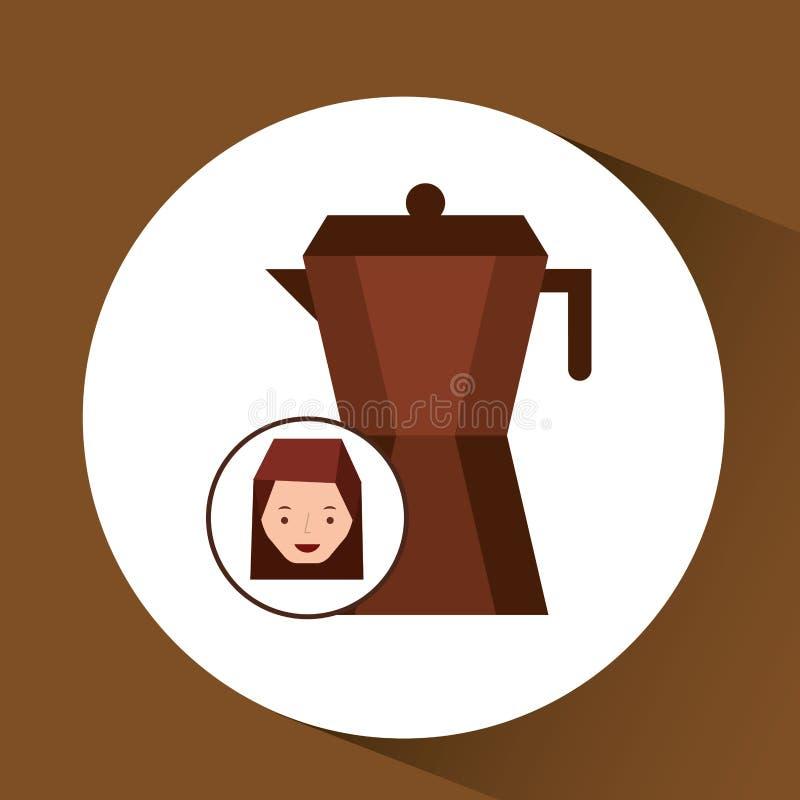 χαριτωμένος καφές κατασκευαστών γυναικών γραφικός απεικόνιση αποθεμάτων