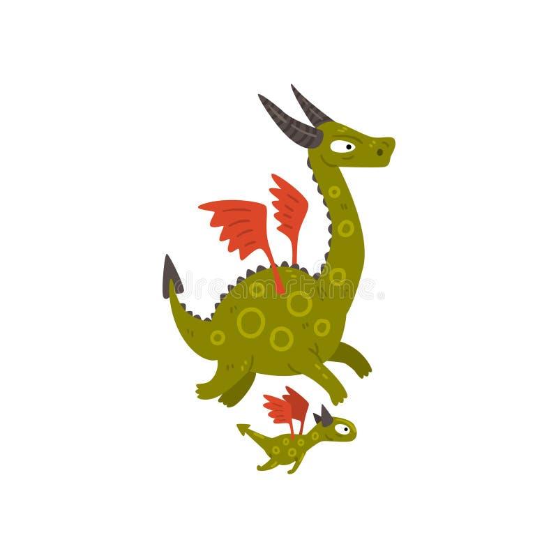 Χαριτωμένος κερασφόρος ώριμος δράκος με τα φτερά και το δράκο μωρών, μητέρα και το παιδί της, οικογένεια των μυθικών κινούμενων σ ελεύθερη απεικόνιση δικαιώματος