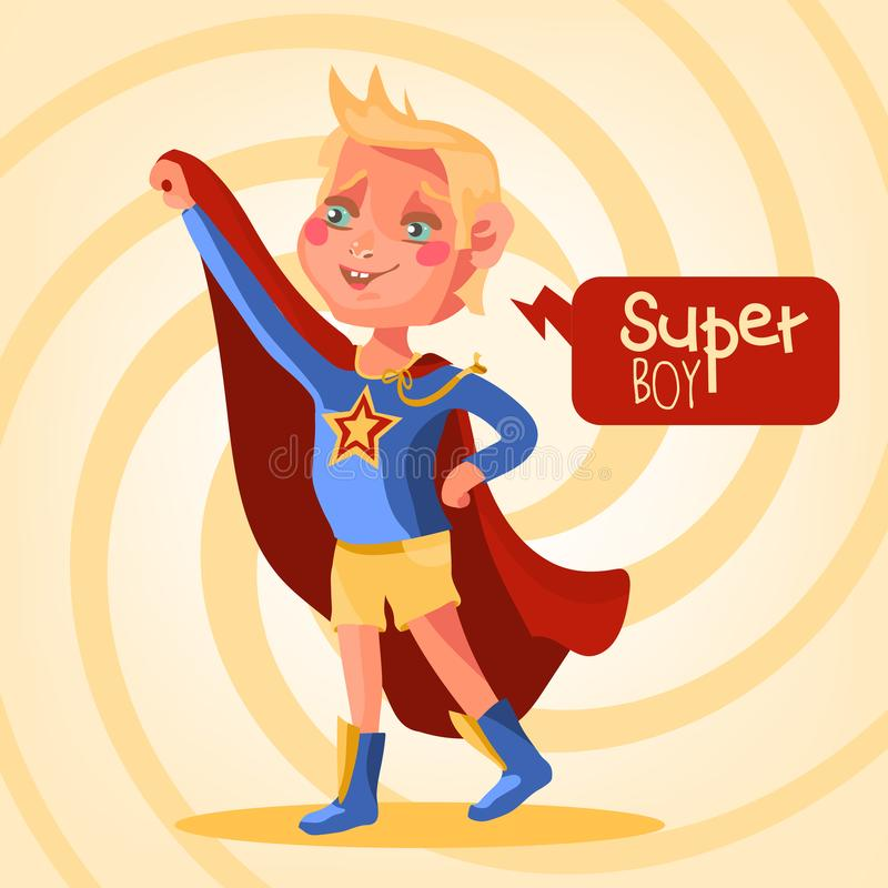 Χαριτωμένος, κινούμενα σχέδια, λατρευτό αγόρι superhero διανυσματική απεικόνιση