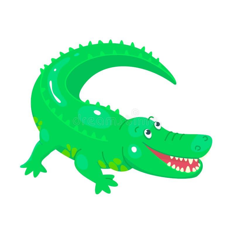 Χαριτωμένος κροκόδειλος κινούμενων σχεδίων για τη γραφική παράσταση παιδιών Πράσινο λατρευτό ζώο χαμόγελου Επίπεδο παιδαριώδες ύφ απεικόνιση αποθεμάτων