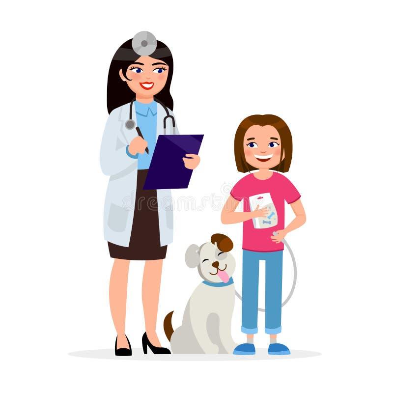 Χαριτωμένος κτηνίατρος και ευτυχές σκυλί με τους χαμογελώντας χαρακτήρες κινουμένων σχεδίων κοριτσιών που απομονώνονται στο άσπρο ελεύθερη απεικόνιση δικαιώματος