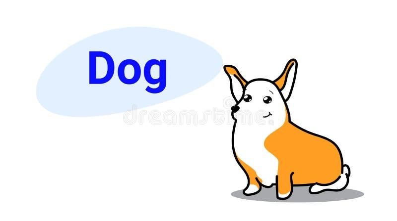Χαριτωμένος κωμικός χαρακτήρας κινούμενων σχεδίων σκυλιών με το χαμόγελο προσώπου αστείων ζώων ύφους kawaii συρμένων των χέρι για ελεύθερη απεικόνιση δικαιώματος