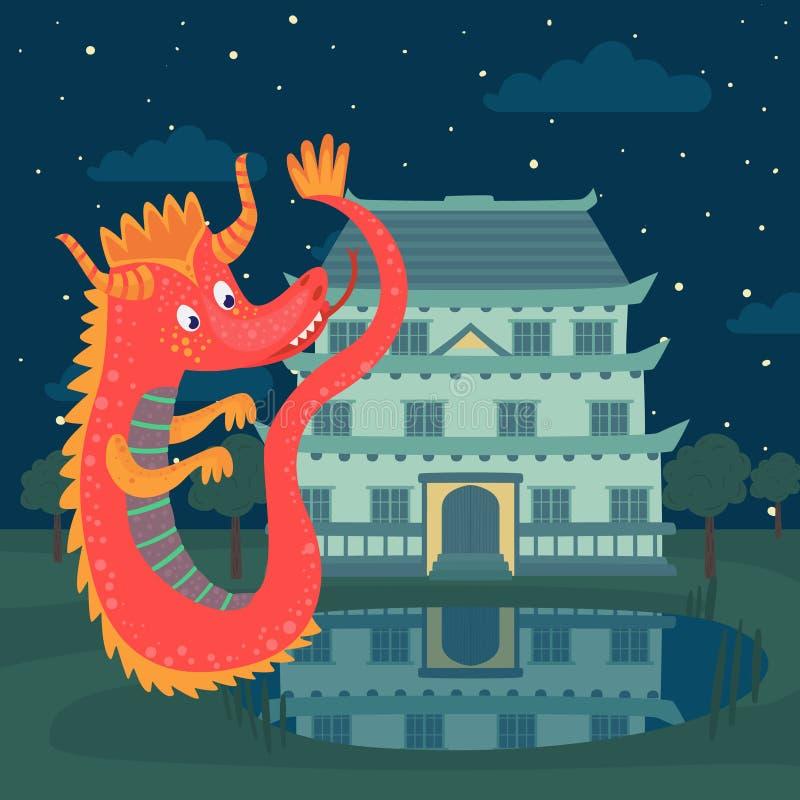 Χαριτωμένος κόκκινος δράκος δίπλα σε ένα κάστρο τη νύχτα, ιστορία παραμυθιού για τη διανυσματική απεικόνιση παιδιών ελεύθερη απεικόνιση δικαιώματος