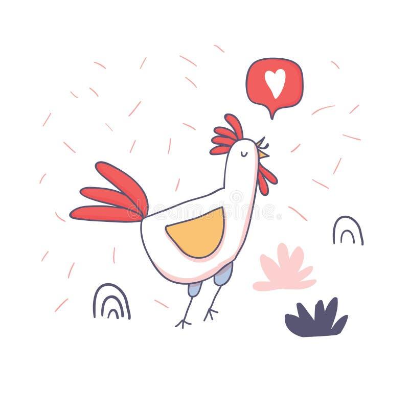 Χαριτωμένος κόκκορας κινούμενων σχεδίων με το emoji αγάπης doodle απεικόνιση αποθεμάτων