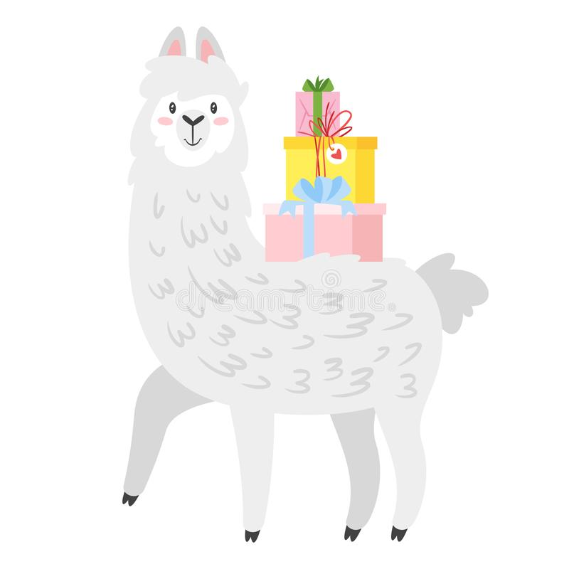 Χαριτωμένος λάμα Ζώο προβατοκαμήλου απεικόνιση αποθεμάτων