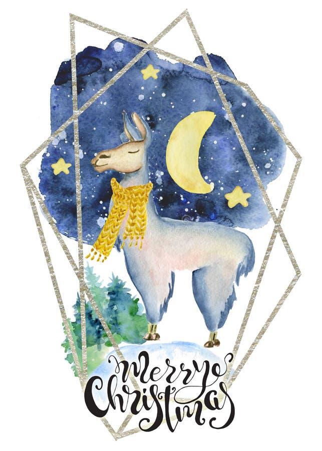 Χαριτωμένος λάμα στο κίτρινο μαντίλι απόσπασμα εγγραφής απεικόνισης Χαρούμενα Χριστούγεννας watercolor συρμένο χέρι ελεύθερη απεικόνιση δικαιώματος