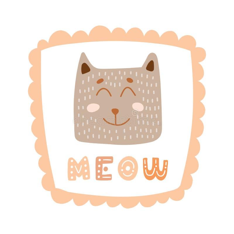 Χαριτωμένος λίγη γάτα στο γλυκό πλαίσιο με συρμένο χέρι γράφοντας meow Ζωηρόχρωμη απομονωμένη ζωική διανυσματική απεικόνιση διανυσματική απεικόνιση