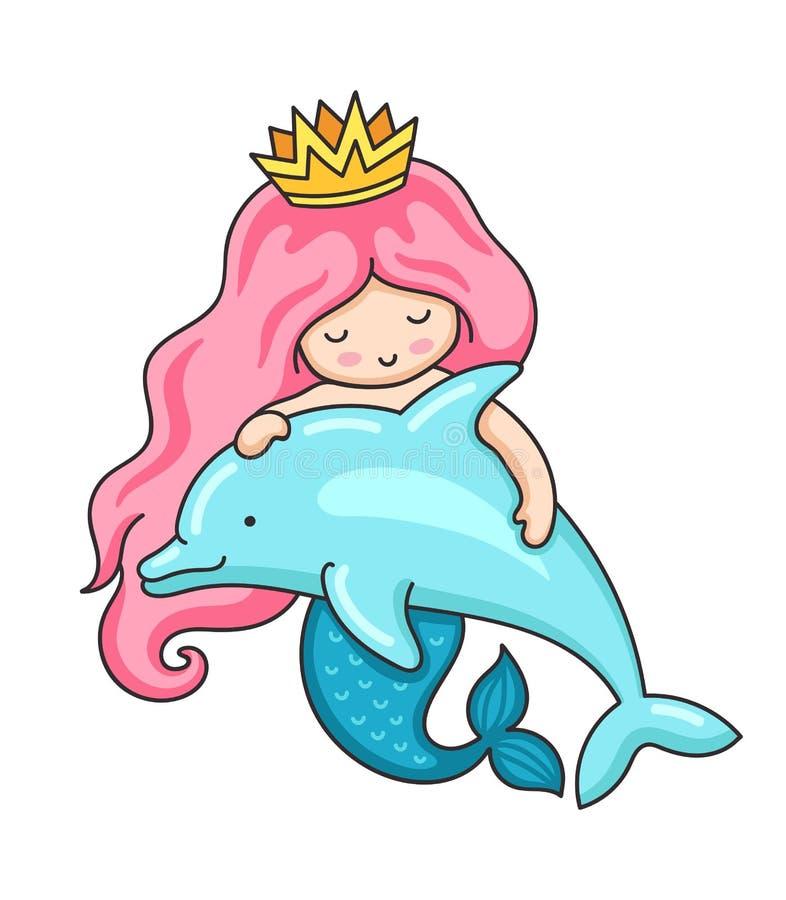 Χαριτωμένος λίγη γοργόνα με την κυματιστά μακριά ρόδινα τρίχα και το δελφίνι ελεύθερη απεικόνιση δικαιώματος