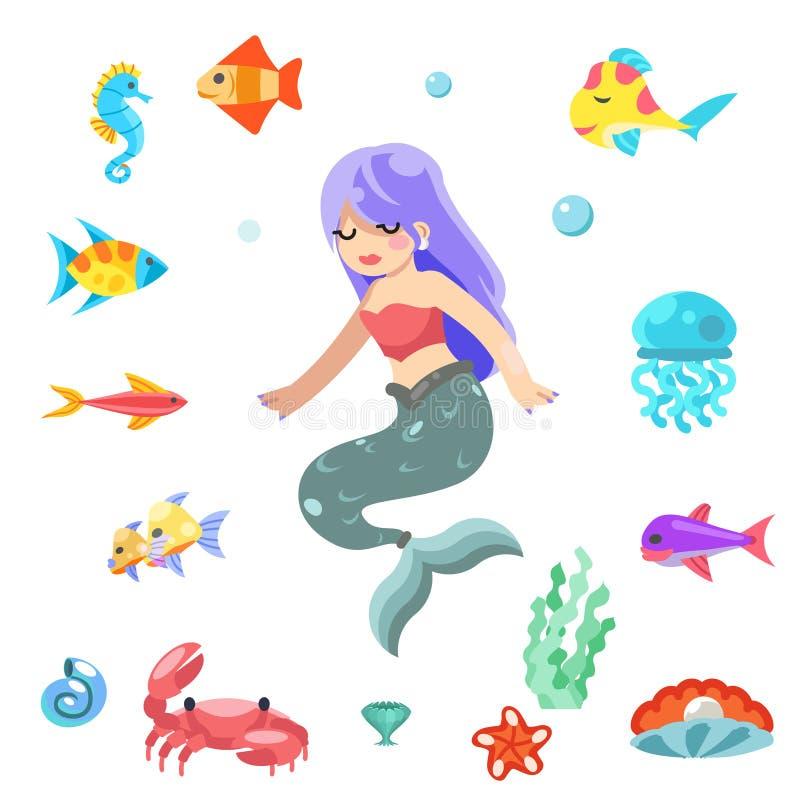 Χαριτωμένος λίγη γοργόνα που κολυμπά κάτω από το επίπεδο διάνυσμα σχεδίου ζώων ψαριών θάλασσας απεικόνιση αποθεμάτων
