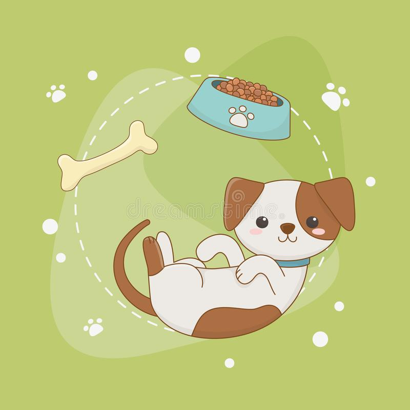 Χαριτωμένος λίγη μασκότ σκυλιών με το πιάτο και το κόκκαλο απεικόνιση αποθεμάτων
