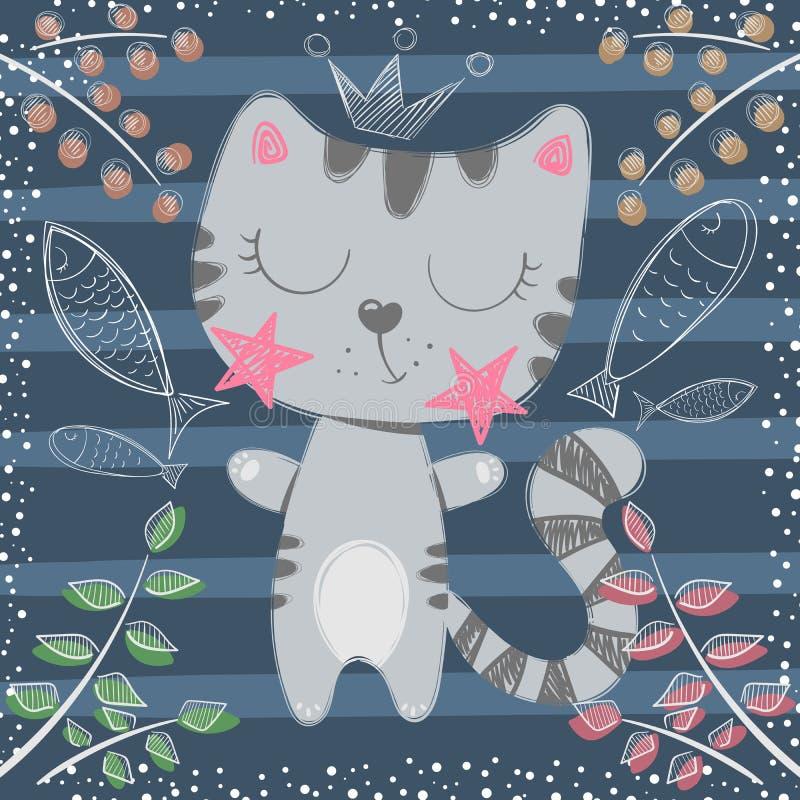 Χαριτωμένος λίγη πριγκήπισσα - χαρακτήρες γατών ελεύθερη απεικόνιση δικαιώματος