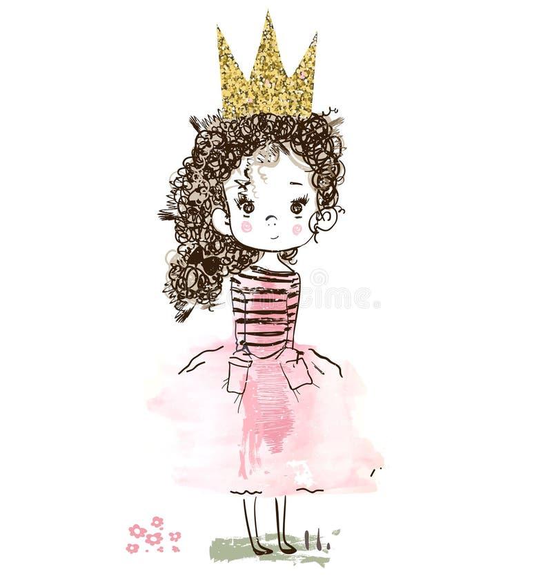 χαριτωμένος λίγη πριγκήπισσα ελεύθερη απεικόνιση δικαιώματος