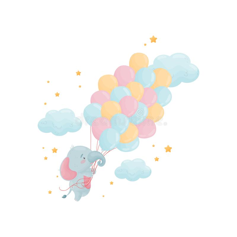 Χαριτωμένος λίγος ελέφαντας πετά πέρα από μια μεγάλη δέσμη των μπαλονιών E ελεύθερη απεικόνιση δικαιώματος