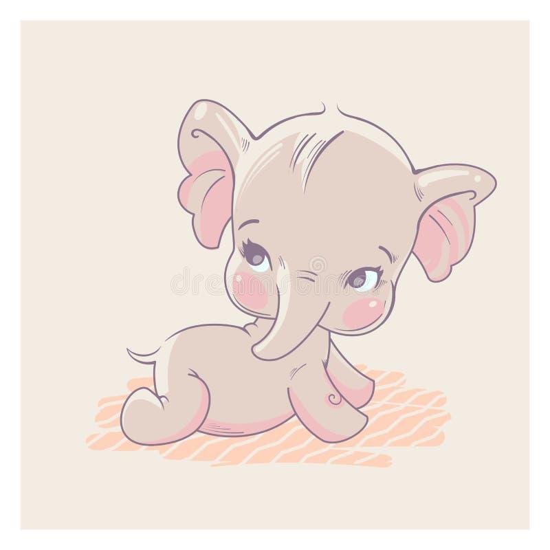 Χαριτωμένος λίγος ελέφαντας ως κοριτσάκι διανυσματική απεικόνιση