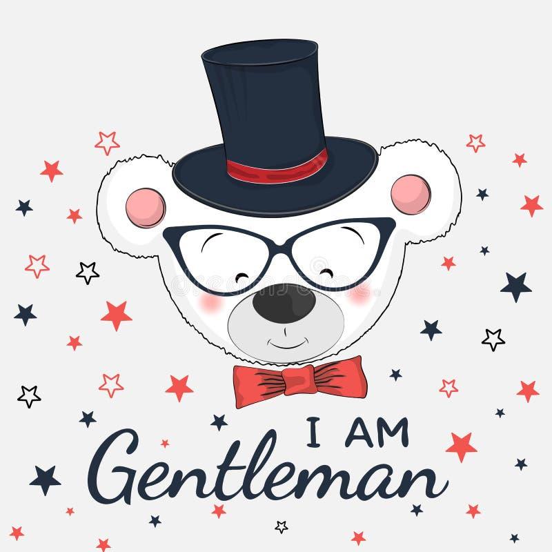 Χαριτωμένος λίγος κύριος αντέχει με το τοπ καπέλο, τα γυαλιά και το δεσμό τόξων απεικόνιση αποθεμάτων
