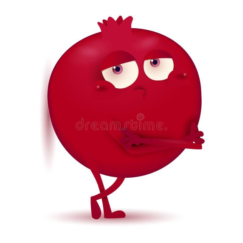 Χαριτωμένος λίγος σκούρο κόκκινο χαρακτήρας φρούτων ροδιών που απομο απεικόνιση αποθεμάτων