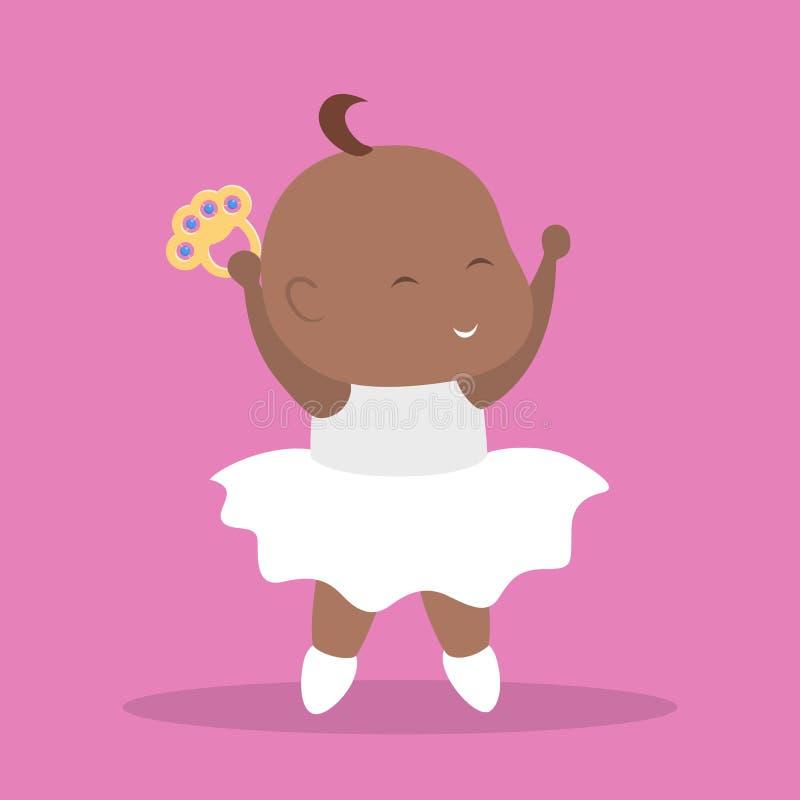 Χαριτωμένος λίγος χορός κοριτσάκι ευτυχές νήπιο διανυσματική απεικόνιση