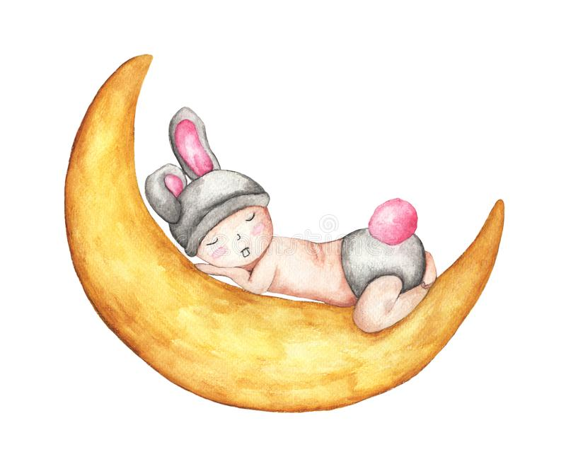 Χαριτωμένος λίγος ύπνος μωρών στο φεγγάρι Κοισμένος χαριτωμένο λαγουδάκι που απομονώνεται στο άσπρο υπόβαθρο ελεύθερη απεικόνιση δικαιώματος